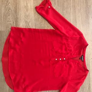 Red express top with button/pocket/sheer detail